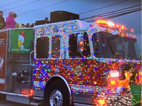 Fire trucks are nicely decorated for the Parade of Lights in Ronkonkoma