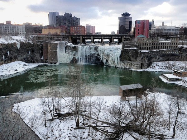 Rochester High Falls are nearly frozen over on this cold January morning