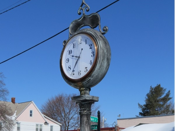 Village clock on Main Street in East Rochester