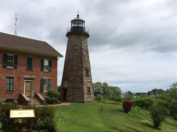 Genesee Lighthouse, a 1822 stone octagonal, is listed on the National Register of Historical Places