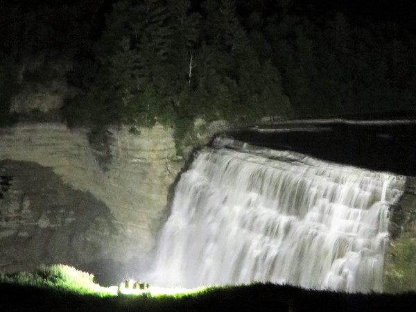 Middle Falls in Letchworth State Park was lit up tonight