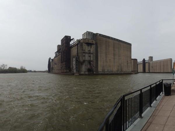 Buffalo River overlooking Silo City in Buffalo NY
