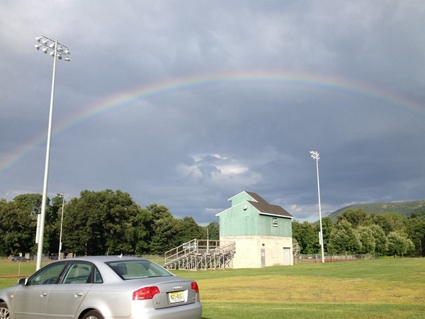 Rainbow over Cornwall youth football practice
