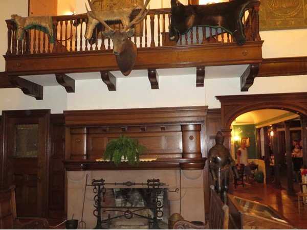 Massive fireplace in the great room at Sonnenberg Mansion