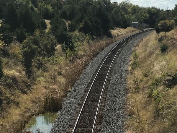Railroad tracks in Lake Lavon Reservoir