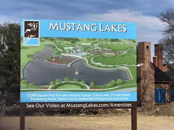 Rendering of amenities at Mustang Lakes
