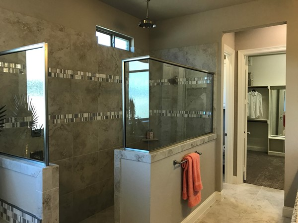 The master bath and closet entrance of one of the model homes